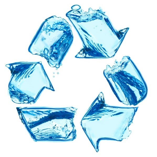 recylcing symbol made of water