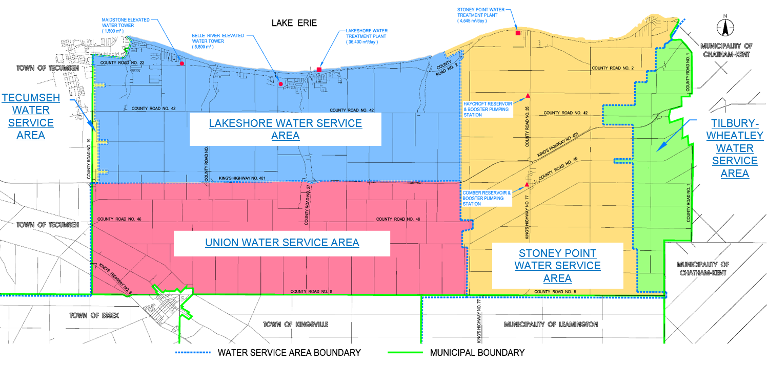 Map of Lakeshore Water Service Areas