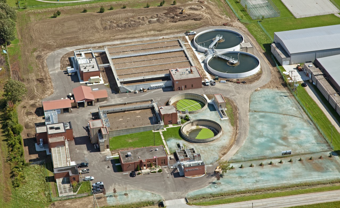 Aerial image of the Denis St. Pierre Water Pollution Treatment Plant