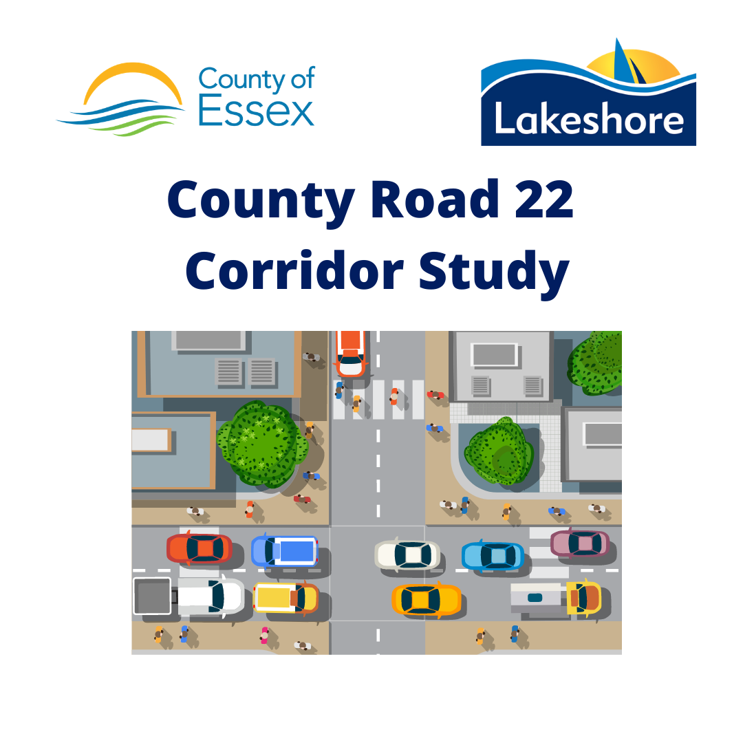 County Road 22 Corridor Study with animated vehicles on street with buildings