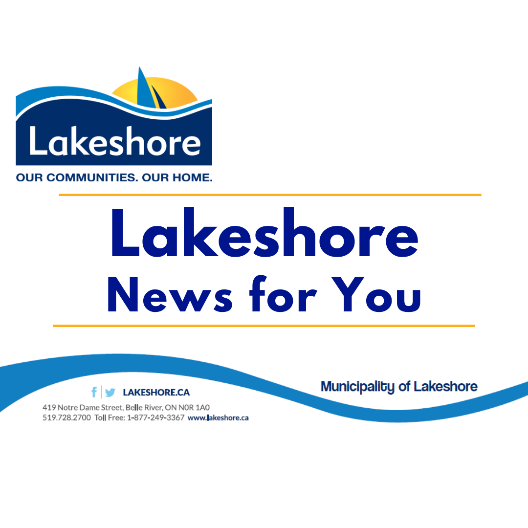 Lakeshore News for you along with municipal logo of blue wave with sailboat sails in a setting sun