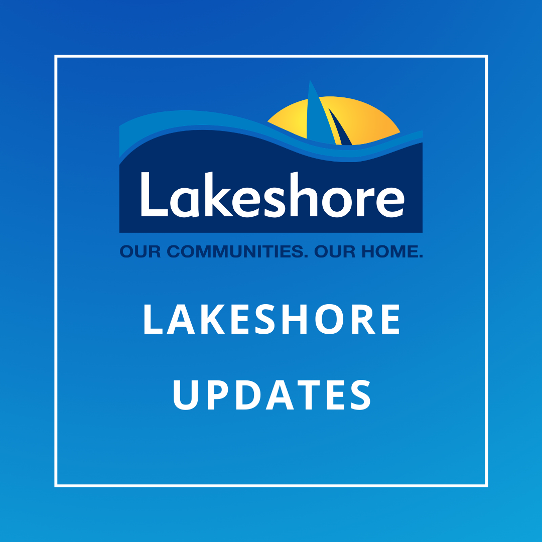 Lakeshore updates on blue background with logo