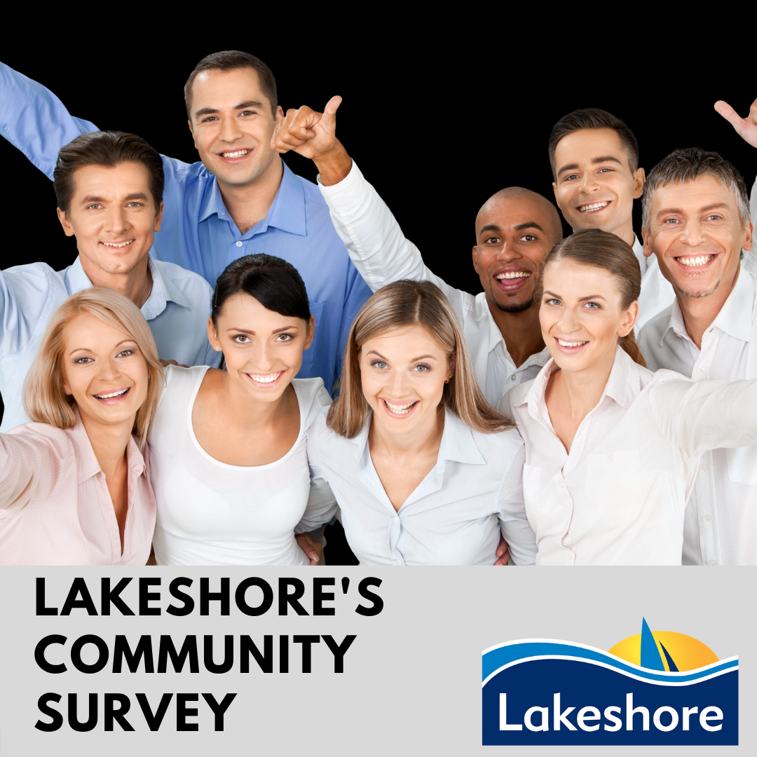 Group of people in white shirts with Town logo and Lakeshore's Community Survey
