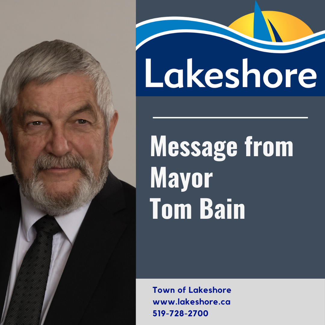 Picture of Mayor Tom Bain with Message from Mayor Tom Bain