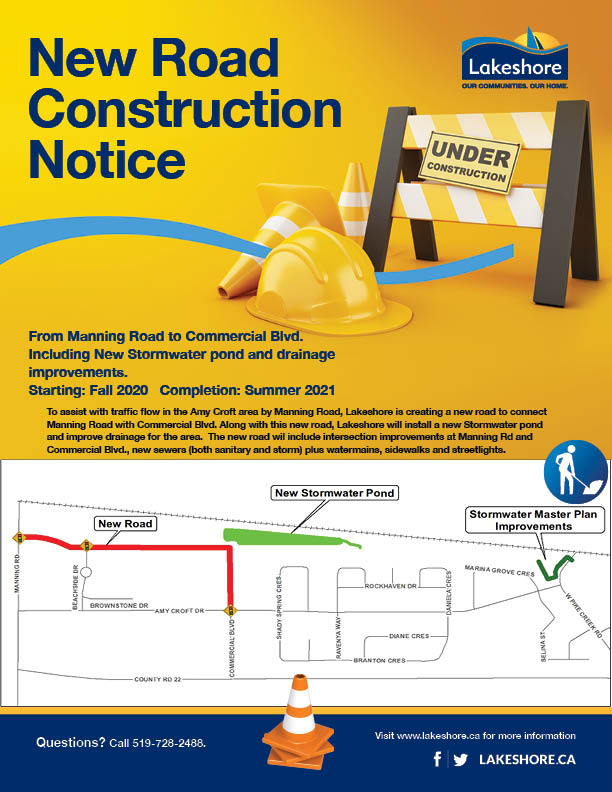 New Road Construction with map of Manning Rd Commercial Blvd area with new road and stormwater pond indicated