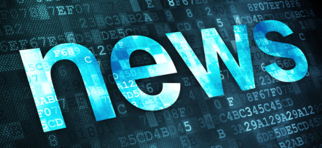News  in blue background